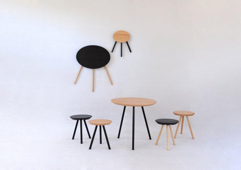 2D stool and table - sebastian bergne